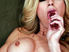 Randy Moore with huge jugs and hairless cunt strips down to her birthday suit and plays with herself