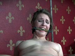 Ashley is in another fantastic contraption, made especially for Infernal Restraints. As always, the slut's pussy is exposed for the executor, to do what he wishes with her, which now is sticking a big black dildo in her pussy, and putting a vibrator on her clit.