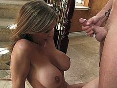 Beautiful mom with sexy sagging tits blows cock