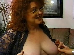 Jenny just really does not feel good right now. This guy asks her what's wrong, and the problem is she's horny, and hasn't had it for a while. He happily obliges her, loving her huge tits and her mouth on his dick and balls, right after that.