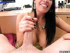 Brunette gets impaled on meat stick by horny guy