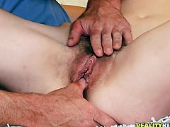 Brunette Cindy Snow dreaming about real sex with real man with her fingers in her wet spot