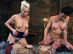 sexy shemale and blonde goddess fuck their man slave
