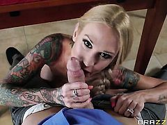 Johnny Sins puts his snake in pretty Sarah Jessies mouth