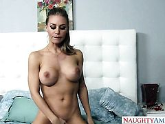 Blonde Nicole Aniston with gigantic jugs and trimmed cunt is the one who wants to fuck forever