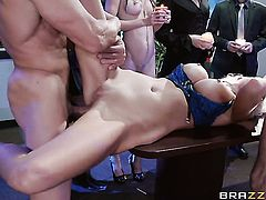Blonde Courtney Taylor with giant boobs gets her deadeye rammed doggystyled