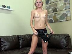 Skinny blonde Chloe Foster gets naked so she can masturbate
