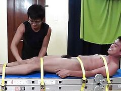 Oriental Twink Lorenzo Bound Down and Tickled