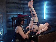 Lea makes certain that Juliette is securely tied up, before she begins the shock treatment. She attaches electrodes at her legs and ass, all around her private area. Juliette is gagged as well, so as to keep the noise down, when she cums.