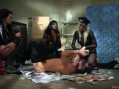 Lance Hart finds himself overcome by a group of three ravenous FemDoms, intent on using his body for their illicit pleasure. Bound, blindfolded, and gagged, he is completely helpless as they tease and torment him. As they flog his exposed skin mercilessly, all he can do is pray for release.