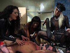 lance hart taken captive by three femdoms: bound, gagged, flogged