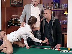 "Private Presents this week's student, Gina Gerson in ""Private Lessons"". Watch in pleasure as she learns how to play billard, putting her new found skills with the cue and balls to use. See her expertly handle 3 cocks, taking them in every hole."