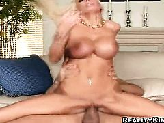 Blonde Lichelle Marie with gigantic jugs and smooth muff shows her love for meat stick sucking