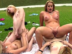 What could be more stimulating then a hot game of shemale volleyball? Throwing a blanket on the ground and having a tranny group orgy. This sexy T-girl foursome decide that having a group sex...