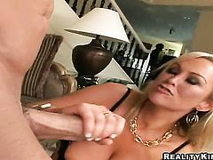 Blonde Abbey Brooks with giant hooters and shaved snatch swallows dudes throbbing tool