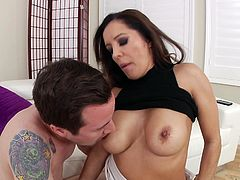 Hot and busty loves big cock of the tattooed guy. Jessy is quite impressed by the curvy figure of Francesca and pounded her very hard and deep, with his little monster... Horny mom got a really painful lesson!