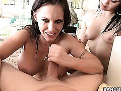 Brunette Jenna Presley with big booty is so wet and so horny after cock stroking