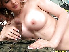 Brunette gets throat fucked outrageously by hot fuck buddy