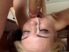 Athletic blonde with the most perfect body enjoys the deep throating