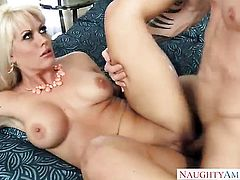 Blonde Holly Heart with big knockers gets cum drenched after sex with hot guy