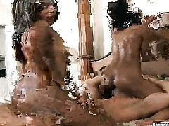 Brunette with big butt and hairless pussy sucks like it aint no thing in oral action with hot blooded guy