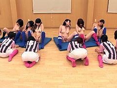 Clothed female Japanese soccer player watch their nudist teammates embarrassingly masturbate before before being instructed to use vibrators on them and then also stripping naked in HD with subtitles