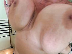 Laura Orsolya aka Laura M. with big melons and bald bush spreads her legs to fuck herself with sex t