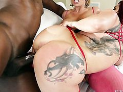 Dayna Vendetta gets her love tunnel pumped full of cock in interracial porn action with horny dude