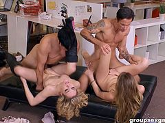 Ass flashing office sluts get naked for group fucking