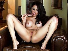 Vanessa Veracruz with giant melons and trimmed beaver has a lot of sexual energy to spend and does it alone!