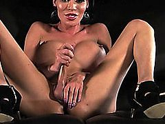 Tgirl Mia Isabella jerking off her shlong in solo act
