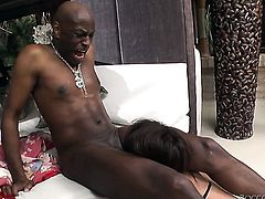 Exotic finds herself getting slam fucked interracially by horny man