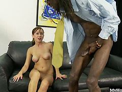 Pretty 19yearold tattooed brunette, Mae Meyers, gets all ebony and ivory with a well endowed black man, doing her best to choke down his thick tool as she gives him a blowjob, than getting her tight shaved pussy furiously fucked, in this hot interracial sex session from Black Cock Virgins 2 by Studio 69, that ends with a facial cumshot.