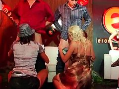 Impressive senoritas doing some cock sucking in the erotic club