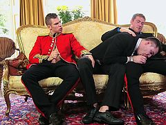 New prince is bored and his courtiers are entertaining him. This sexy threesome between some hot british studs, which are elegant and always horny, will leave no one indifferent. Blowjobs are passed around and there are plenty of body rubbing and hot steamy sex action between these lovers.
