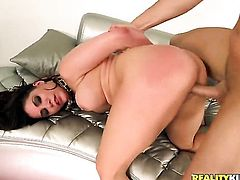 Brunette Aleksa Nicole with juicy breasts and hairless twat is a blowjob addict that loves guys rock solid meat stick