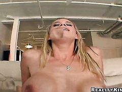 Blonde Kylie with phat booty and clean bush gives a closeup view of her fuck hole as she masturbates with sex toy