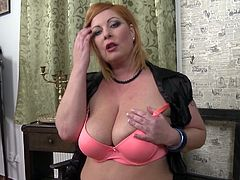 Hot redhead mommy with huge tits, was making food for her husband. She thought of taking some rest and browse something over internet. After watching some porn videos, she became horny and started taking her clothes off, for the perfect masturbation.