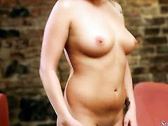 Brunette Julie Black does striptease before she sticks her fingers in her wet spot