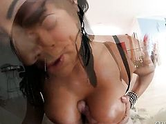 Brunette senorita Kiara Mia with massive breasts and hot dude both have fierce appetite for fucking