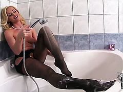 Kathia Nobili fills the hole between her legs with dildo for cam in solo scene