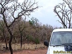hot sexy chocolate babe gets fucked and massive facial at my african safari trip