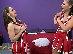 Hardcore with two pornstars dressed up as cheerleaders
