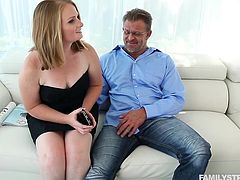Cali is a horny little babe, who wants to play with her step daddy every time and also her step dad wanted to play with Cali. It's sure that he will teach her some sex lessons for the future. This lucky guy can fuck Cali and her mom every day.