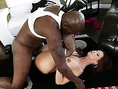 Syren De Mer gets her love box trained by mans hard man meat in interracial porn scene