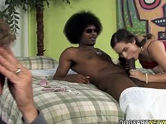 Father watches her teen sucks and fucks big black cock...
