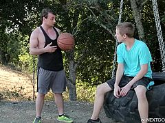 They are the neighbours, but I can hardly say that they are friends. Very often Scott is jeering at Kyle, but today he is bored and don't have other friends nearby, so he offers him to play the adult game. Kyle gladly accepts. The rules of this game are simple, he should suck Scott's dick and balls so good and hard, as he can. Watch!