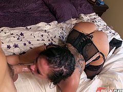 Tory Lane takes a man to bed and fucks in stockings