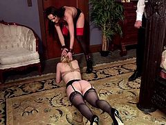 Bianca grabbed Trillium by the hair and dragged her to their master. There, in a large room, Xander slapped his foolish slave with a whip. Blonde shy babe is humiliated to the fullest and ready for every wish now. The harsh master pinched her soft nipples with metal clamps, attached vibrator to her plump pussy and...