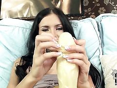 Breathtakingly beautiful vixen Sasha Rose with tiny tits and clean cunt enjoying great solo session